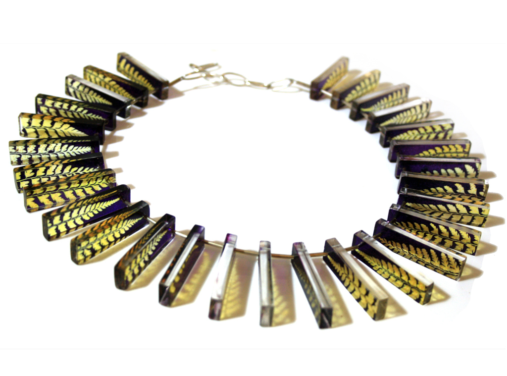 Purple Gold Fern Shadow Ruff Necklace by Sue Gregor