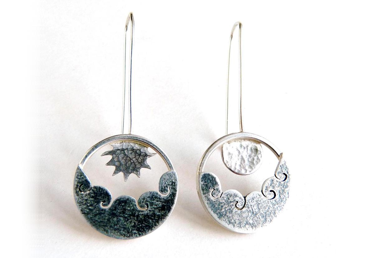 Sun and Moon Drop Earrings by Becky Crow