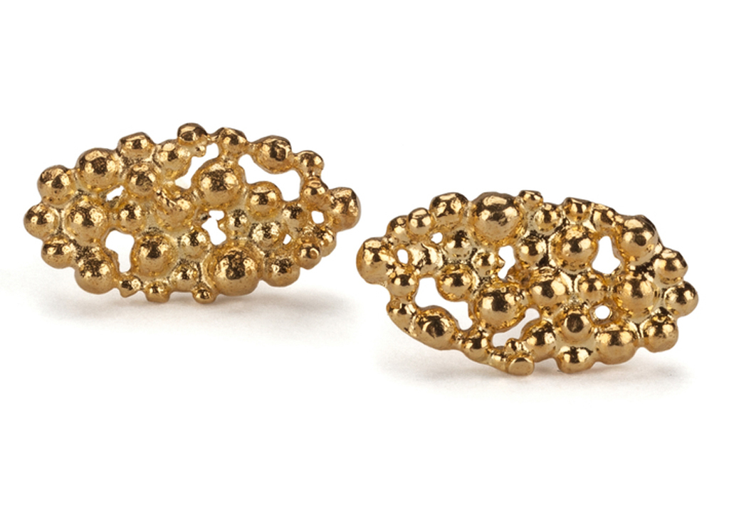 Oval Lace Stud Earrings by Hannah Bedford