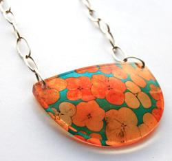 Teal Orange Tiny Hydrangea Semicircular Pendant by Sue Gregor. Product thumbnail image