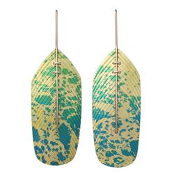 Flight Drop Earrings Pale Yellow on Green Blue by John Moore. Product thumbnail image